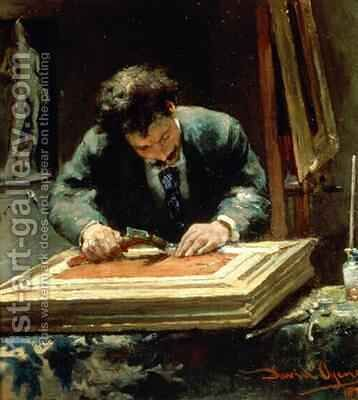 The Picture Framer, 1878 by David Oyens - Reproduction Oil Painting