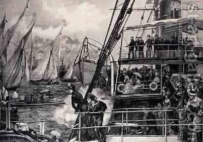 The Prince of Wales Starting the Jubilee Yacht Race, from The Illustrated London News, 25th June 1887 by (after) Overend, William Heysham - Reproduction Oil Painting