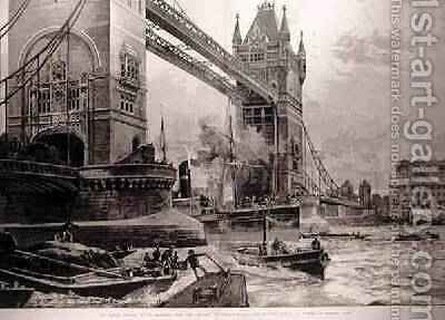 The Tower Bridge, to be Erected Over the Thames: Foundation Stone Laid by the Prince of Wales on Monday Last, from The Illustrated London News, 26th June 1886 by (after) Overend, William Heysham - Reproduction Oil Painting