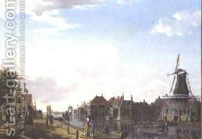 Dutch Canal Scene with Elegant Figures and a Mill, 1877 by Isaak Ouwater - Reproduction Oil Painting
