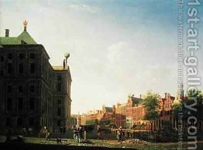 A View along the Nieuwezijds Voorburgwal in Amsterdam showing the back of the Royal Palace, 1782 by Isaak Ouwater - Reproduction Oil Painting