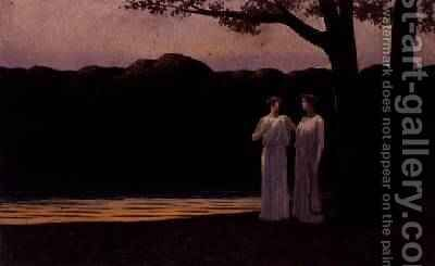 Muses on the Shore in the Evening, 1907 by Alphonse Osbert - Reproduction Oil Painting