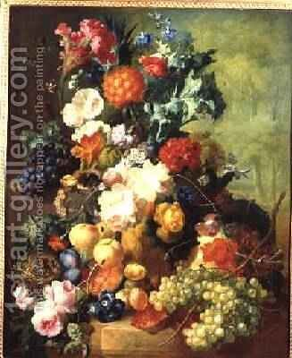 Still Life with Flowers and Fruit by Jan van Os - Reproduction Oil Painting