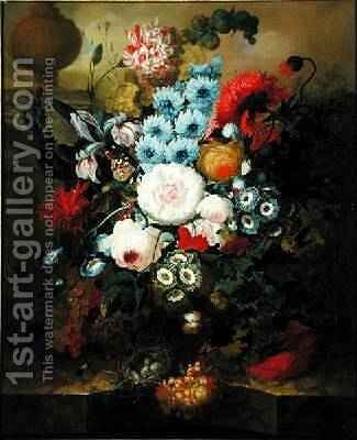Carnations, Morning Glory, Roses, Auriculas, Hyacinth and Other Flowers with a Birds Nest on a Marble Ledge by Jan van Os - Reproduction Oil Painting