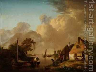 River landscape with village, barges and peasants by Jan van Os - Reproduction Oil Painting