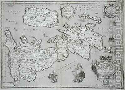 Map of Britain and Ireland, 1595, published Antwerp 1624 by Abraham Ortelius - Reproduction Oil Painting