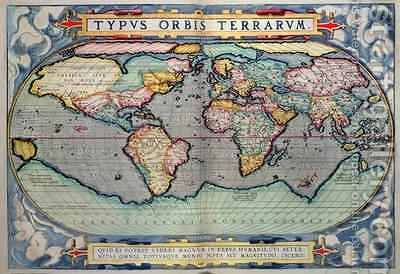 Map of the World, from Theatrum Orbis Terrarum, Antwerp, 1598 by Abraham Ortelius - Reproduction Oil Painting