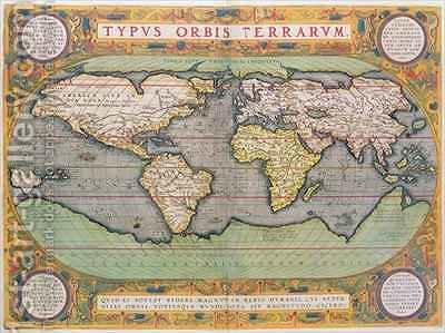 Typus Orbis Terrarum, map of the world, from Orteliuss Theatrum Orbis Terrarum, Antwerp, 1570 by Abraham Ortelius - Reproduction Oil Painting