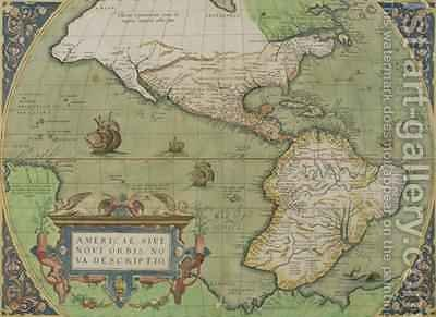 Map of North and South America, from the Theatrum Orbis Terrarum, published Antwerp, c.1570 by Abraham Ortelius - Reproduction Oil Painting