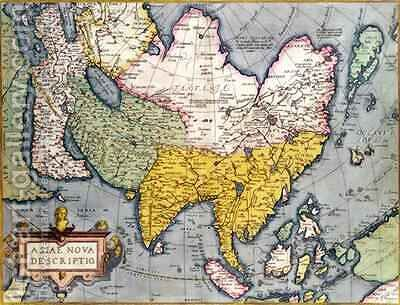 Asia Map of the continent including Japan and the East Indies with part of New Guinea, c.1580 by Abraham Ortelius - Reproduction Oil Painting