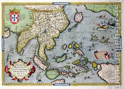 Map of India to New Guinea, c.1570-1603 by Abraham Ortelius - Reproduction Oil Painting