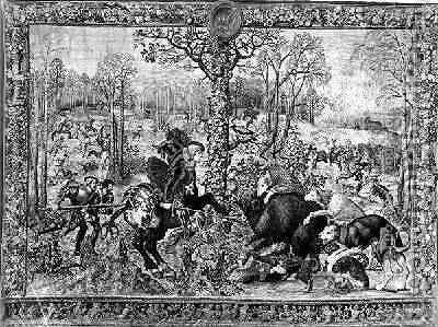 The Hunts of Maximilian Capricorn The Boar Hunt 1521 33 by (after) Orley, Bernard van - Reproduction Oil Painting