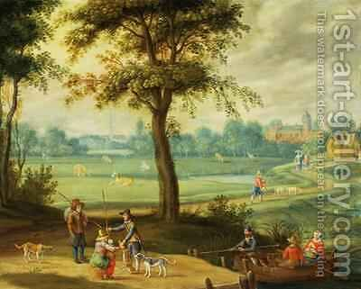 A Village Landscape by a River by Isaak van Oosten - Reproduction Oil Painting