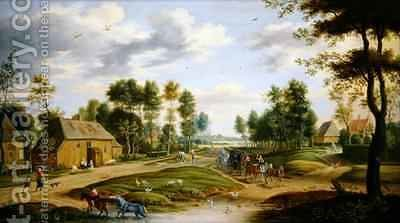 Landscape with a wagon and travellers passing through a village by Isaak van Oosten - Reproduction Oil Painting
