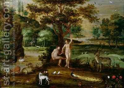 Adam and Eve in the Garden of Eden by Isaak van Oosten - Reproduction Oil Painting