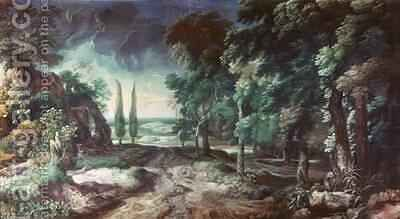 Landscape with Forest and Cypresses by Crescenzio Onofri - Reproduction Oil Painting
