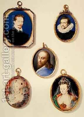 Miniatures from LtoR TtoB Sir Arundel Talbot Unknown Man Head of Christ Anne of Denmark 1574-1619 Lady in Masque Costume by Isaac Oliver - Reproduction Oil Painting