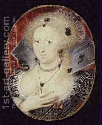 Queen Anne of Denmark miniature by Isaac Oliver - Reproduction Oil Painting