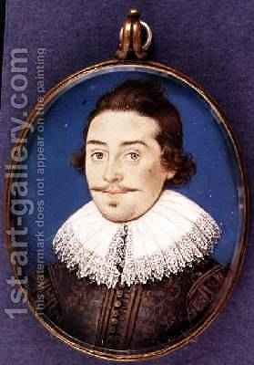 Unknown member of the Dorset family miniature 1615 by Isaac Oliver - Reproduction Oil Painting