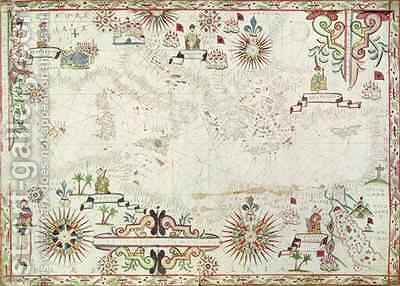 Map of the Mediterranean 1625 by (attr. to) Oliva, Johannes - Reproduction Oil Painting
