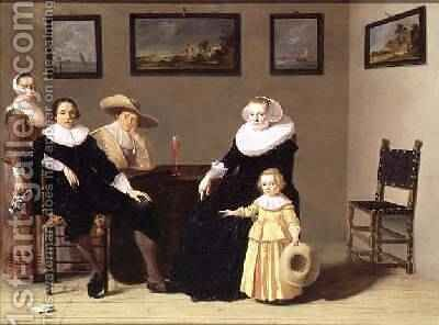 Dutch Family in an Interior 1634 by Jan Olis - Reproduction Oil Painting