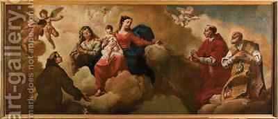 Madonna and Child with St Anne appearing to St Anthony of Padua St Charles St Carlo Borromeo and St Philip of Neri 1760 by Egidio dall Olio - Reproduction Oil Painting