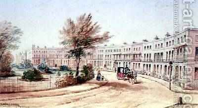 Royal Crescent Cheltenham 1850 by James Charles Oldmeadow - Reproduction Oil Painting