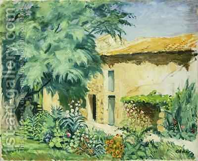 Southern Farm House with Flowerbed by Hans Olde - Reproduction Oil Painting
