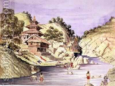 Bugna Bunaith on the right bank of the Baghmulty river near Chobhar July 1857 by Dr. H.A. Oldfield - Reproduction Oil Painting