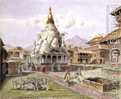 Rato Machhendranath Temple at Bungamati Newari Tribe Village Nepal July 1857 by Dr. H.A. Oldfield - Reproduction Oil Painting