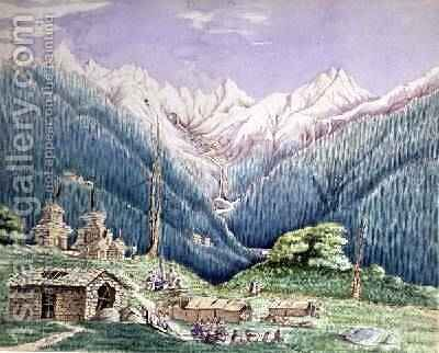 The Thailgaupa River at its Source in the Lakes of Gosainkund, sketched from the Tibetan Village of Donchah 1860 by Dr. H.A. Oldfield - Reproduction Oil Painting