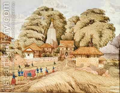 Narain Hitthee near Kathmandoo Nepal by Dr. H.A. Oldfield - Reproduction Oil Painting