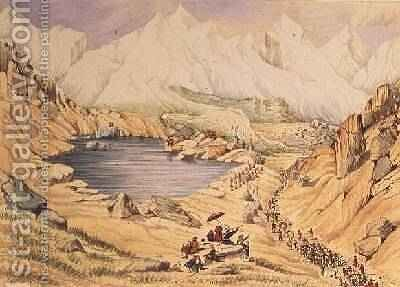 Soldiers invading Tibet from Nepal entrance to the Keerung Pass. The plain is part of the Town of Keerung with the Valley of Pauring Tiar and the Buoria Gondu river May 1855 by Dr. H.A. Oldfield - Reproduction Oil Painting