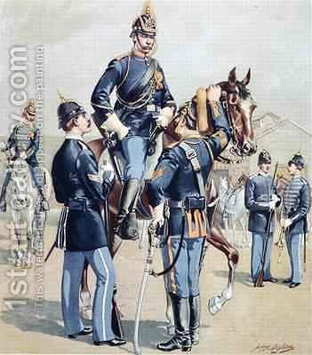 US Cavalry and Infantry full dress 1888 by Henry Alexander Ogden - Reproduction Oil Painting