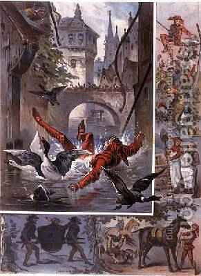 Illustration for Till Eulenspiegel Story by Richard Strauss 1864-1949 1860-80 by Carl Offterdinger - Reproduction Oil Painting