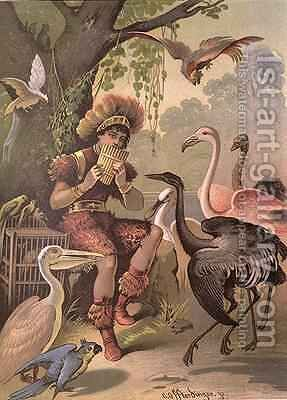 Papageno the Bird-Catcher from The Magic Flute by Wolfgang Amadeus Mozart 1756-91 by Carl Offterdinger - Reproduction Oil Painting