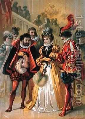 Cinderella at the ball illustration for Cinderella by Charles Perrault 1628-1703 by Carl Offterdinger - Reproduction Oil Painting