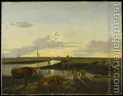 Canal Landscape with Figures Bathing View over Zwolle by Hendrick ten Oever - Reproduction Oil Painting