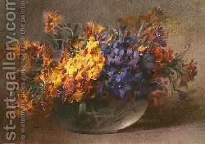 Spring flowers in a glass bowl by Blanche Odin - Reproduction Oil Painting