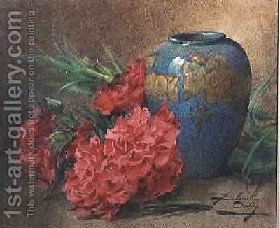 Still Life with Carnations beside a Blue Glazed Vase by Blanche Odin - Reproduction Oil Painting