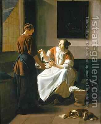 A Lady and Maid Choosing Fish by Jacob Ochtervelt - Reproduction Oil Painting