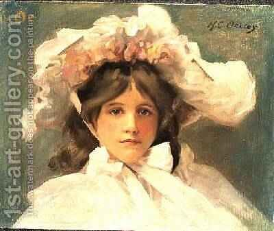 Girl in an Edwardian Bonnet by Harold Oakley - Reproduction Oil Painting