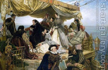 Mary Stuarts Farewell to France 1862 by Henry Nelson O'Neil - Reproduction Oil Painting