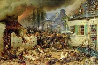 Attacking the Prussians in Plancenoit in the Battle of Waterloo 1863 by Adolf Northern - Reproduction Oil Painting