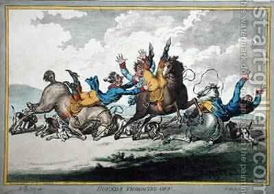 Hounds Throwing Off etched by James Gillray by (after) North, Brownlow - Reproduction Oil Painting