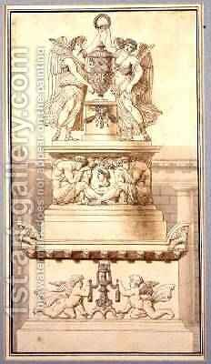 Design for a Funerary Monument to a Roman General 1800 by Charles Pierre Joseph Normand - Reproduction Oil Painting