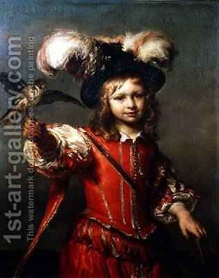 A Boy with a Falcon and Leash 1665 by Jan or Joan van Noordt - Reproduction Oil Painting