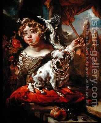 A Portrait of a Boy Wearing a Plumed Hat Holding a Falcon and Spear with a Pug Seated Before Him 1675 by Jan or Joan van Noordt - Reproduction Oil Painting