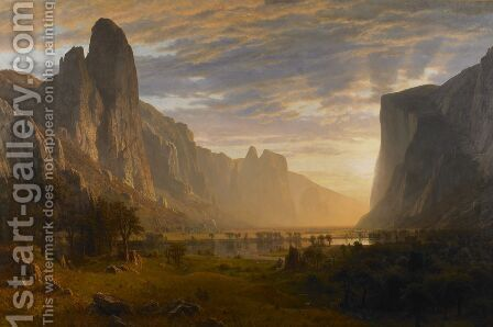 Looking Down Yosemite Valley, California by Albert Bierstadt - Reproduction Oil Painting