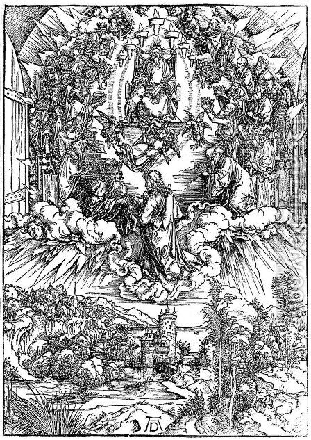 St.John in Clouds, Surrounded by 24 Elders around the Throne of God by Albrecht Durer - Reproduction Oil Painting